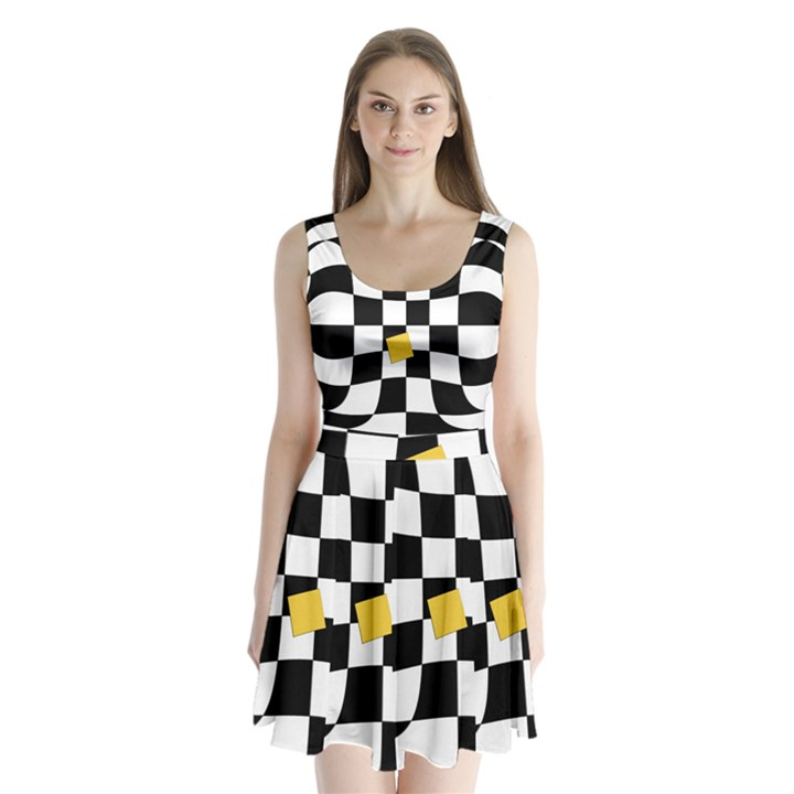 Dropout Yellow Black And White Distorted Check Split Back Mini Dress