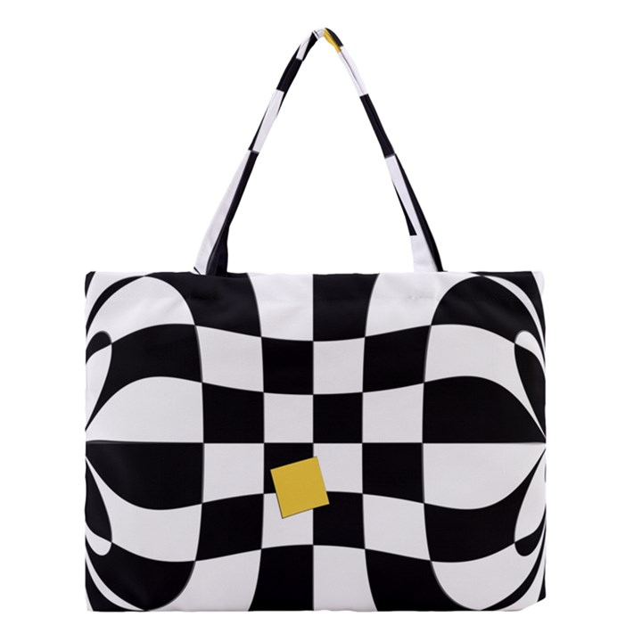 Dropout Yellow Black And White Distorted Check Medium Tote Bag