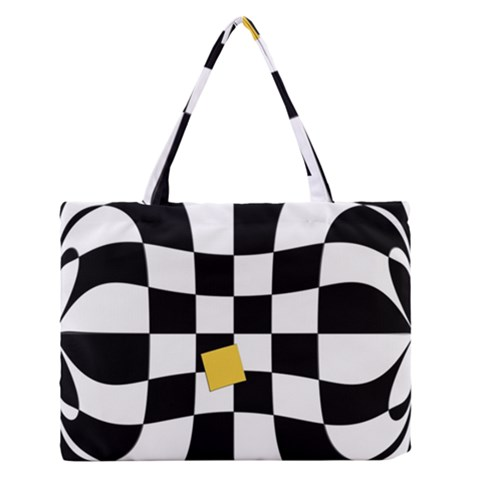 Dropout Yellow Black And White Distorted Check Medium Zipper Tote Bag