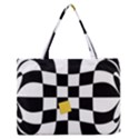 Dropout Yellow Black And White Distorted Check Medium Zipper Tote Bag View1