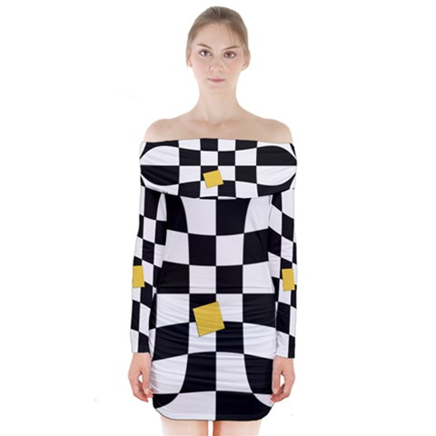 Dropout Yellow Black And White Distorted Check Long Sleeve Off Shoulder Dress