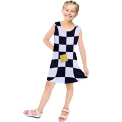 Dropout Yellow Black And White Distorted Check Kids  Tunic Dress