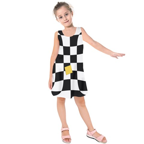 Dropout Yellow Black And White Distorted Check Kids  Sleeveless Dress