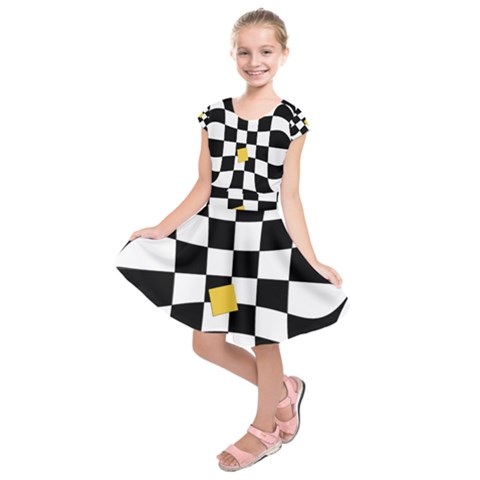Dropout Yellow Black And White Distorted Check Kids  Short Sleeve Dress