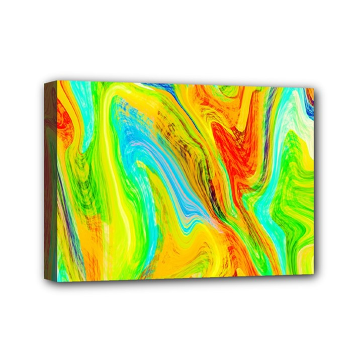 Happy Multicolor Painting Mini Canvas 7  x 5