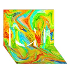 Happy Multicolor Painting I Love You 3D Greeting Card (7x5)
