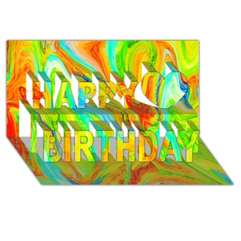 Happy Multicolor Painting Happy Birthday 3D Greeting Card (8x4)