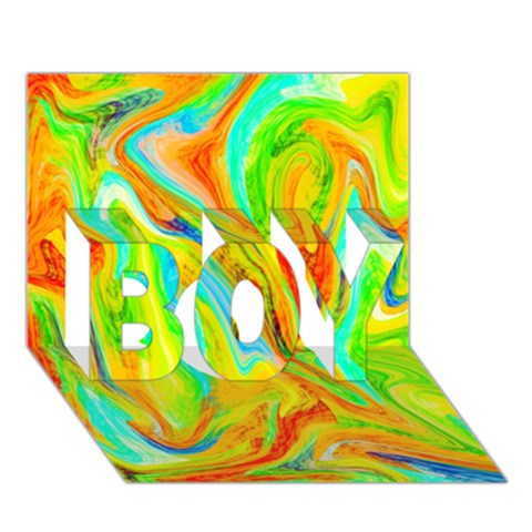 Happy Multicolor Painting BOY 3D Greeting Card (7x5)