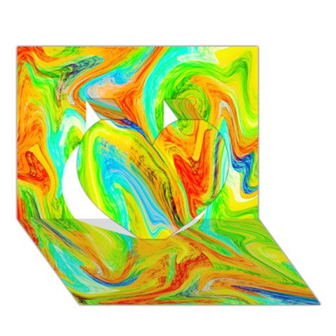 Happy Multicolor Painting Heart 3D Greeting Card (7x5)