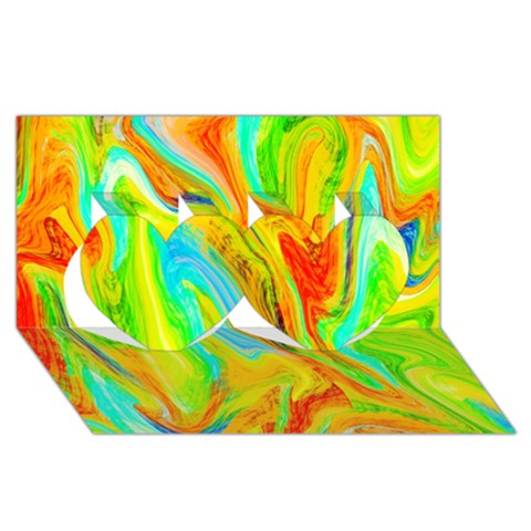 Happy Multicolor Painting Twin Hearts 3D Greeting Card (8x4)