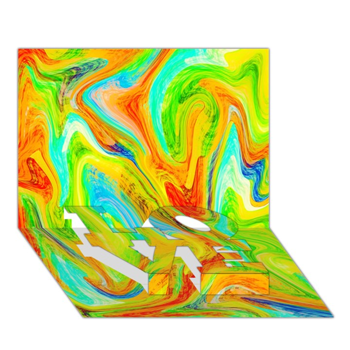 Happy Multicolor Painting LOVE Bottom 3D Greeting Card (7x5)