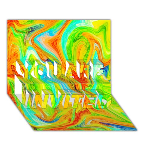 Happy Multicolor Painting YOU ARE INVITED 3D Greeting Card (7x5)