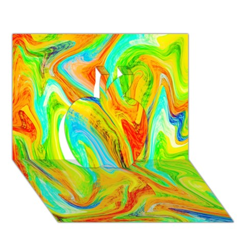 Happy Multicolor Painting Apple 3D Greeting Card (7x5)