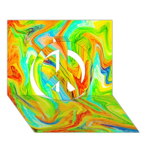 Happy Multicolor Painting Peace Sign 3D Greeting Card (7x5)