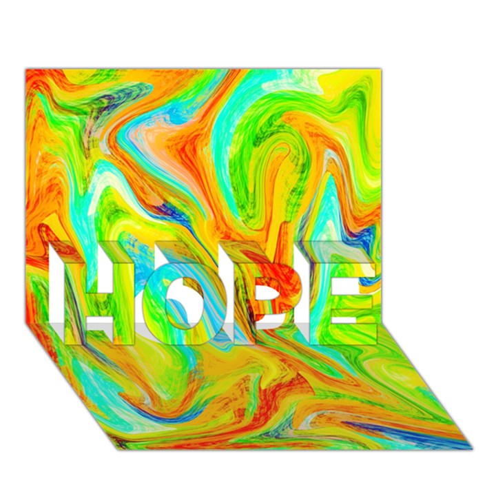 Happy Multicolor Painting HOPE 3D Greeting Card (7x5)