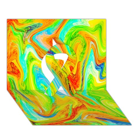 Happy Multicolor Painting Ribbon 3D Greeting Card (7x5)