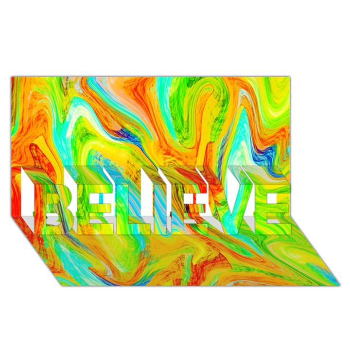 Happy Multicolor Painting BELIEVE 3D Greeting Card (8x4)