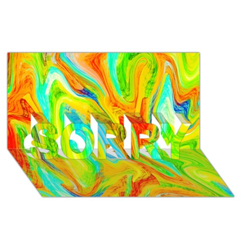Happy Multicolor Painting SORRY 3D Greeting Card (8x4)