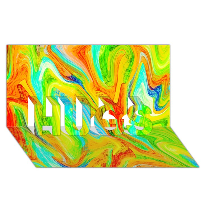 Happy Multicolor Painting HUGS 3D Greeting Card (8x4)