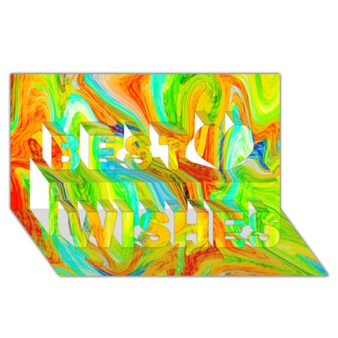 Happy Multicolor Painting Best Wish 3D Greeting Card (8x4)