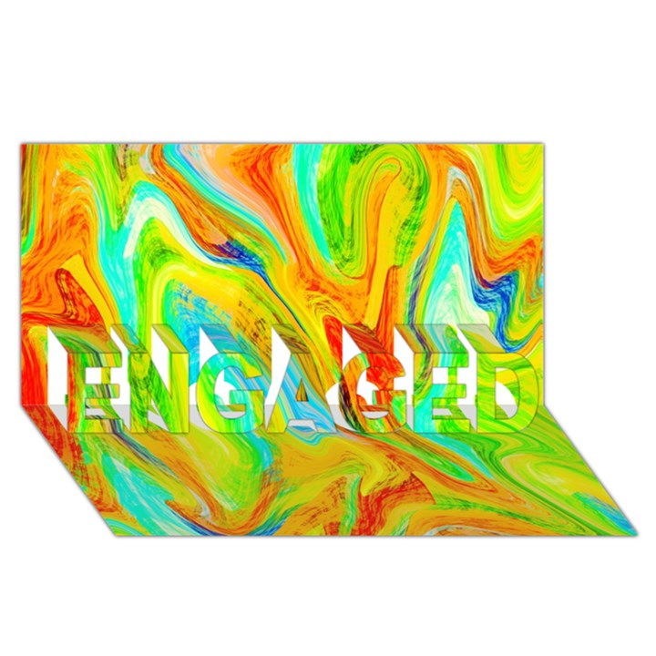 Happy Multicolor Painting ENGAGED 3D Greeting Card (8x4)