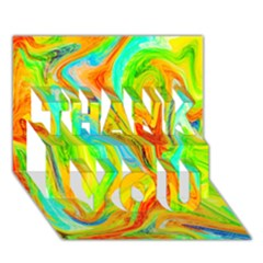 Happy Multicolor Painting THANK YOU 3D Greeting Card (7x5)