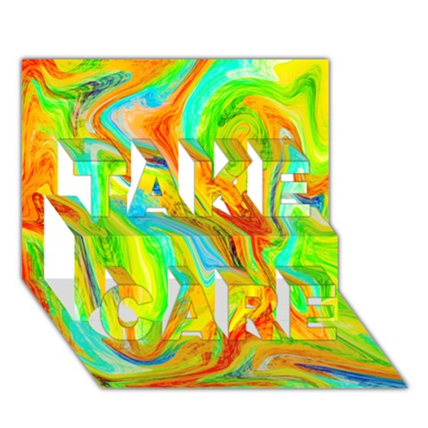 Happy Multicolor Painting TAKE CARE 3D Greeting Card (7x5)