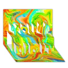 Happy Multicolor Painting You Did It 3d Greeting Card (7x5)