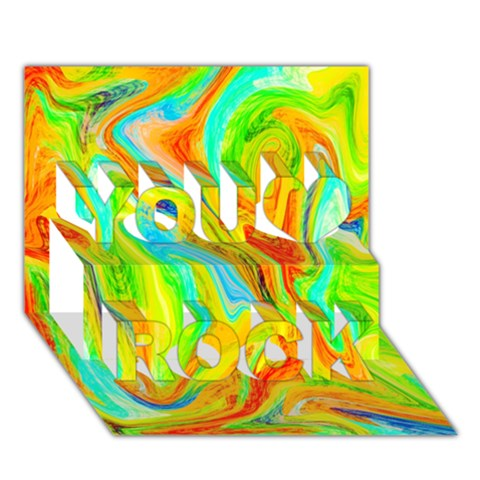 Happy Multicolor Painting You Rock 3D Greeting Card (7x5)