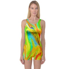 Happy Multicolor Painting One Piece Boyleg Swimsuit