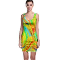 Happy Multicolor Painting Sleeveless Bodycon Dress