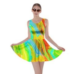 Happy Multicolor Painting Skater Dress