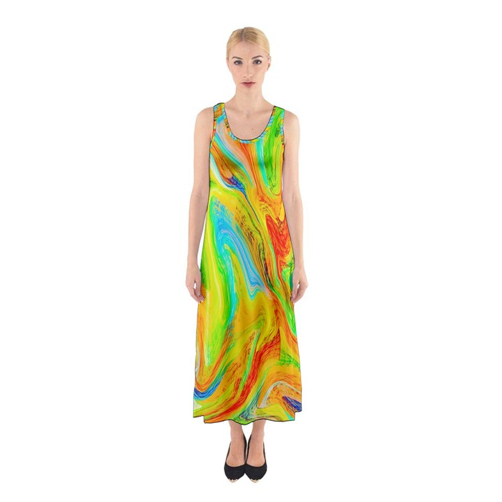 Happy Multicolor Painting Sleeveless Maxi Dress