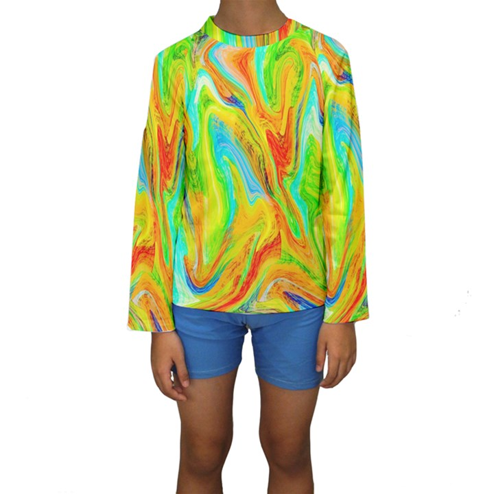 Happy Multicolor Painting Kids  Long Sleeve Swimwear