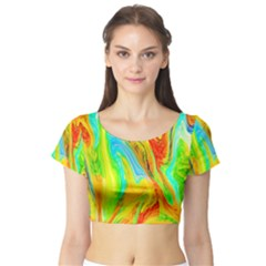 Happy Multicolor Painting Short Sleeve Crop Top (tight Fit)