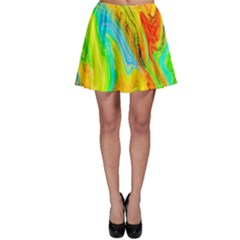 Happy Multicolor Painting Skater Skirt