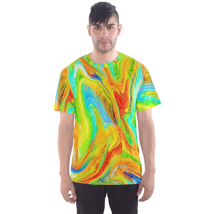 Happy Multicolor Painting Men s Sport Mesh Tee
