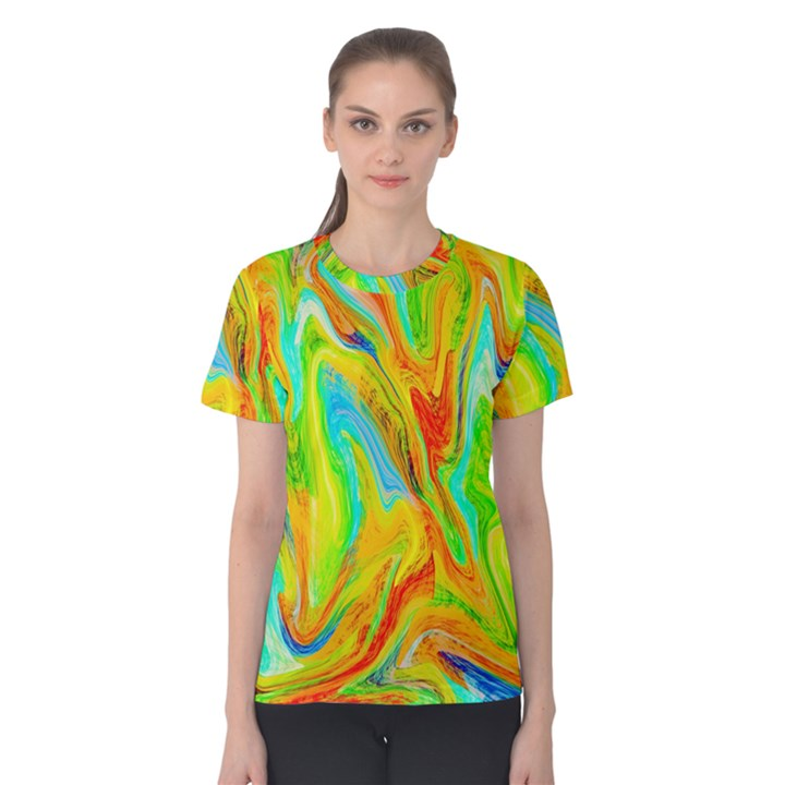 Happy Multicolor Painting Women s Cotton Tee