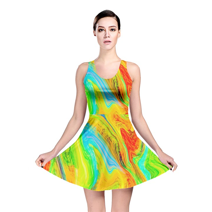 Happy Multicolor Painting Reversible Skater Dress