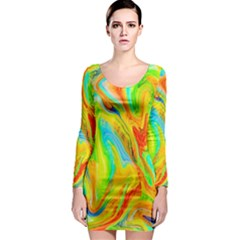 Happy Multicolor Painting Long Sleeve Bodycon Dress