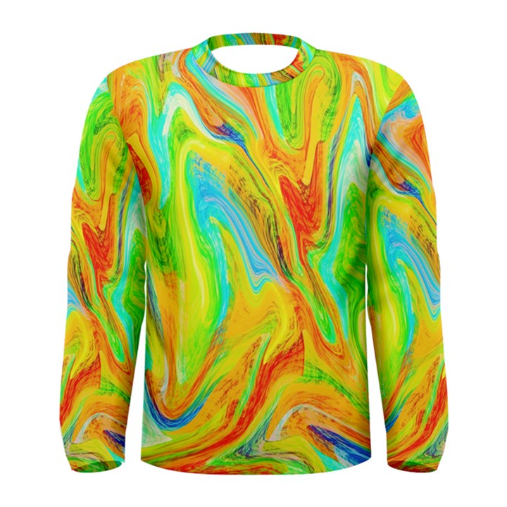 Happy Multicolor Painting Men s Long Sleeve Tee