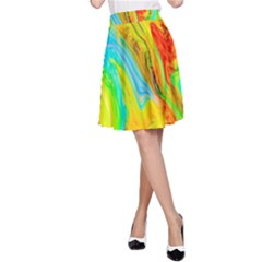Happy Multicolor Painting A Line Skirt