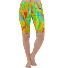 Happy Multicolor Painting Cropped Leggings