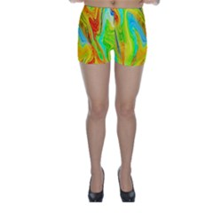 Happy Multicolor Painting Skinny Shorts