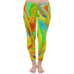Happy Multicolor Painting Winter Leggings