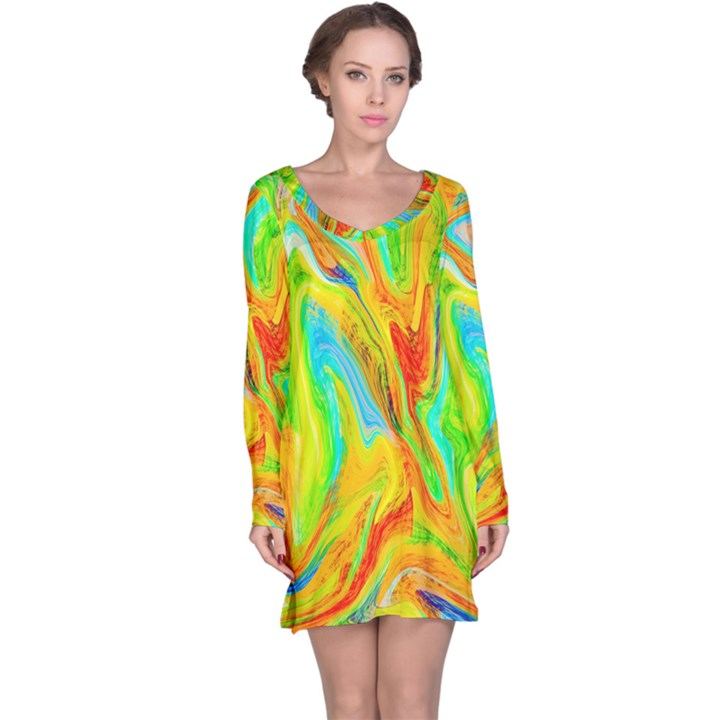 Happy Multicolor Painting Long Sleeve Nightdress