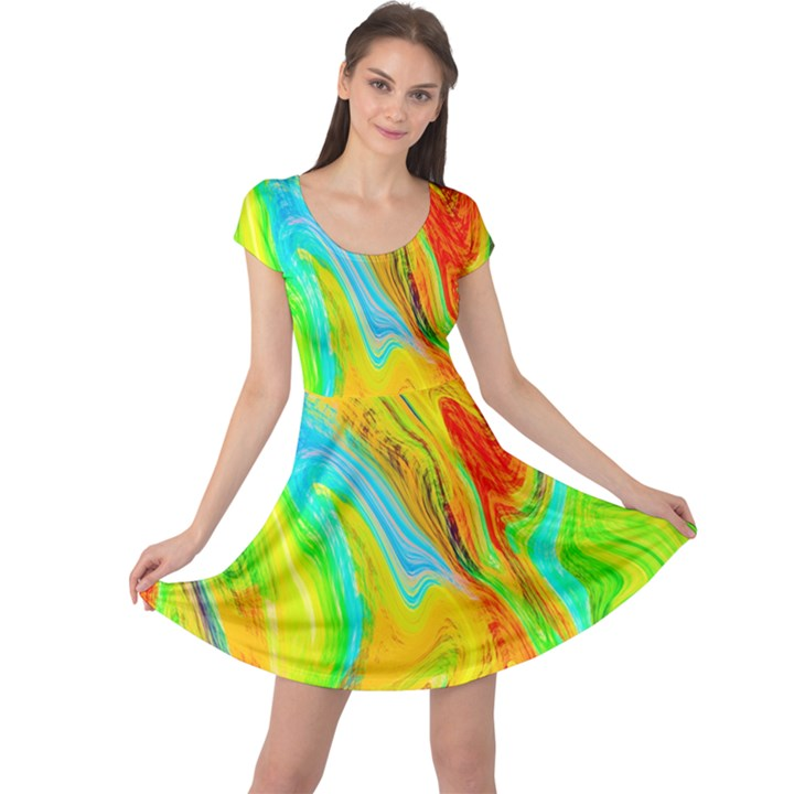 Happy Multicolor Painting Cap Sleeve Dresses