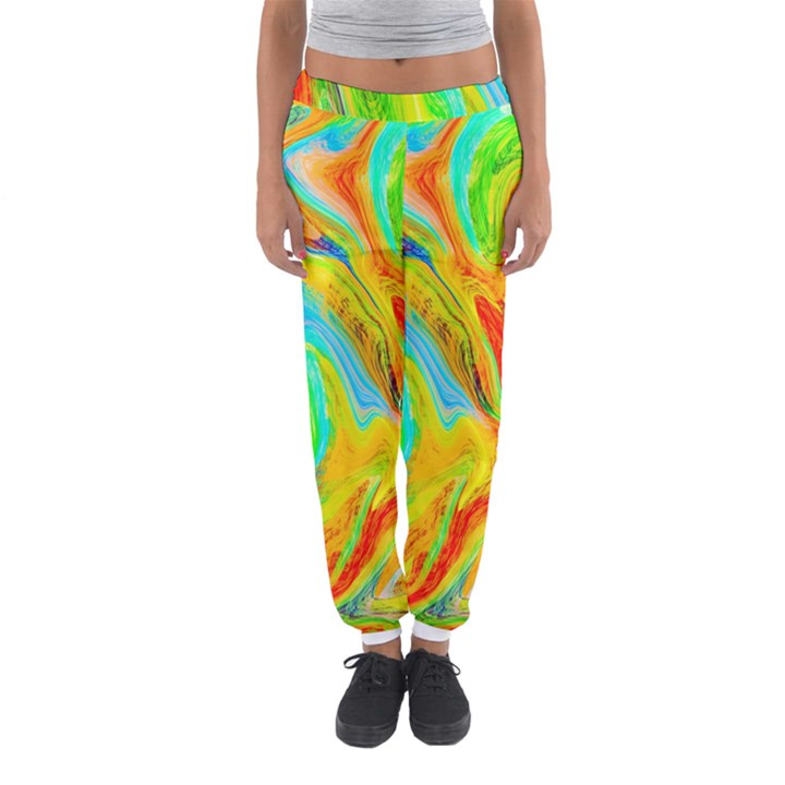 Happy Multicolor Painting Women s Jogger Sweatpants