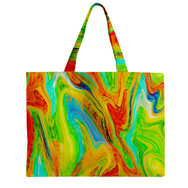Happy Multicolor Painting Zipper Mini Tote Bag