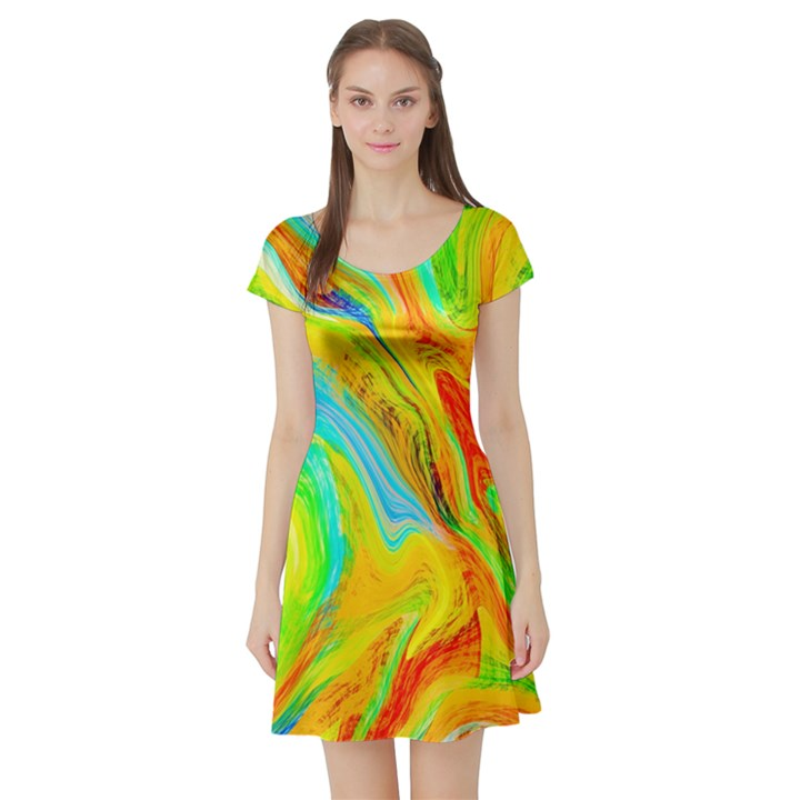 Happy Multicolor Painting Short Sleeve Skater Dress
